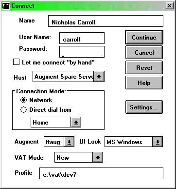 Screen shot of Augment login box